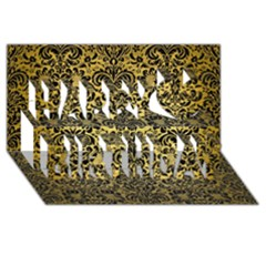 Damask2 Black Marble & Gold Brushed Metal (r) Happy Birthday 3d Greeting Card (8x4) by trendistuff