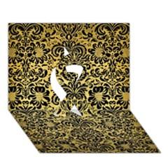 Damask2 Black Marble & Gold Brushed Metal (r) Ribbon 3d Greeting Card (7x5)