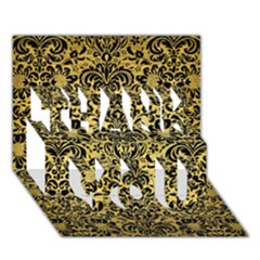 Damask2 Black Marble & Gold Brushed Metal (r) Thank You 3d Greeting Card (7x5) by trendistuff