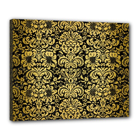 Damask2 Black Marble & Gold Brushed Metal Canvas 20  X 16  (stretched) by trendistuff