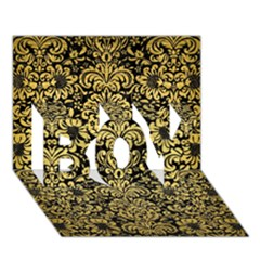 Damask2 Black Marble & Gold Brushed Metal Boy 3d Greeting Card (7x5)