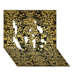 Damask2 Black Marble & Gold Brushed Metal Love 3d Greeting Card (7x5)