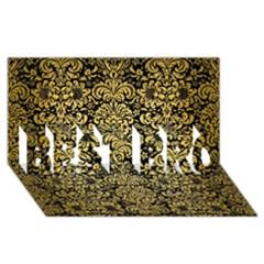 Damask2 Black Marble & Gold Brushed Metal Best Bro 3d Greeting Card (8x4)