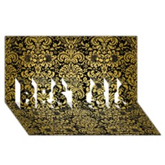 Damask2 Black Marble & Gold Brushed Metal Best Sis 3d Greeting Card (8x4)