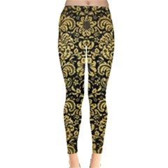 Damask2 Black Marble & Gold Brushed Metal Leggings  by trendistuff