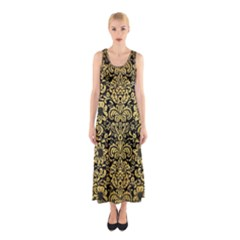 Damask2 Black Marble & Gold Brushed Metal Sleeveless Maxi Dress by trendistuff