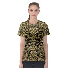 Damask2 Black Marble & Gold Brushed Metal Women s Sport Mesh Tee by trendistuff