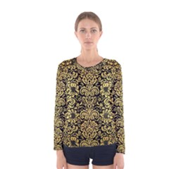 Damask2 Black Marble & Gold Brushed Metal Women s Long Sleeve Tee