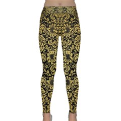 Damask2 Black Marble & Gold Brushed Metal Classic Yoga Leggings by trendistuff