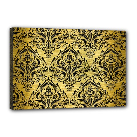 Damask1 Black Marble & Gold Brushed Metal (r) Canvas 18  X 12  (stretched) by trendistuff