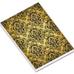 Damask1 Black Marble & Gold Brushed Metal (r) Large Memo Pads
