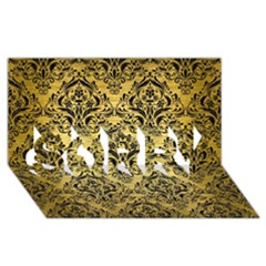 Damask1 Black Marble & Gold Brushed Metal (r) Sorry 3d Greeting Card (8x4)