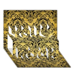 Damask1 Black Marble & Gold Brushed Metal (r) You Rock 3d Greeting Card (7x5)