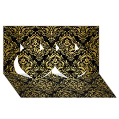 Damask1 Black Marble & Gold Brushed Metal Twin Hearts 3d Greeting Card (8x4)