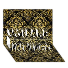 Damask1 Black Marble & Gold Brushed Metal You Are Invited 3d Greeting Card (7x5)