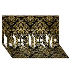 Damask1 Black Marble & Gold Brushed Metal Believe 3d Greeting Card (8x4)