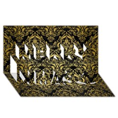 DMS1 BK MARBLE GOLD Merry Xmas 3D Greeting Card (8x4)  by trendistuff