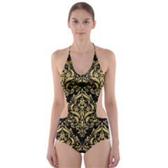 Damask1 Black Marble & Gold Brushed Metal Cut Out One Piece Swimsuit