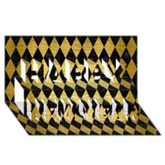 Diamond1 Black Marble & Gold Brushed Metal Happy New Year 3d Greeting Card (8x4) by trendistuff