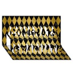 Diamond1 Black Marble & Gold Brushed Metal Congrats Graduate 3d Greeting Card (8x4) by trendistuff