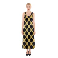 Circles2 Black Marble & Gold Brushed Metal (r) Sleeveless Maxi Dress
