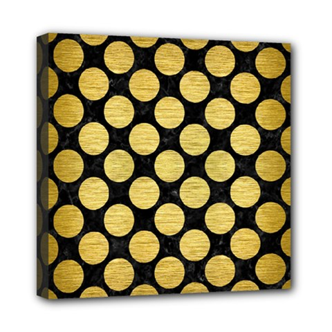 Circles2 Black Marble & Gold Brushed Metal Mini Canvas 8  X 8  (stretched) by trendistuff