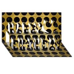 Circles1 Black Marble & Gold Brushed Metal (r) Happy Birthday 3d Greeting Card (8x4)