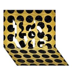 Circles1 Black Marble & Gold Brushed Metal (r) Love 3d Greeting Card (7x5)
