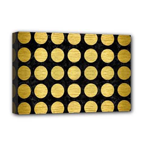 Circles1 Black Marble & Gold Brushed Metal Deluxe Canvas 18  X 12  (stretched) by trendistuff