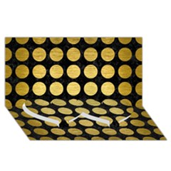 Circles1 Black Marble & Gold Brushed Metal Twin Heart Bottom 3d Greeting Card (8x4)