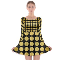 Circles1 Black Marble & Gold Brushed Metal Long Sleeve Skater Dress