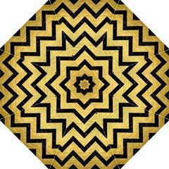 Chevron9 Black Marble & Gold Brushed Metal (r) Golf Umbrella by trendistuff