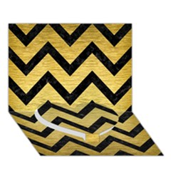 Chevron9 Black Marble & Gold Brushed Metal (r) Heart Bottom 3d Greeting Card (7x5) by trendistuff