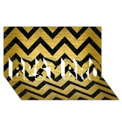 Chevron9 Black Marble & Gold Brushed Metal (r) Best Bro 3d Greeting Card (8x4)