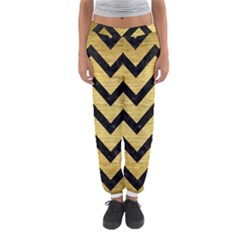 Chevron9 Black Marble & Gold Brushed Metal (r) Women s Jogger Sweatpants by trendistuff