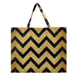 Chevron9 Black Marble & Gold Brushed Metal (r) Zipper Large Tote Bag