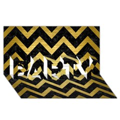 Chevron9 Black Marble & Gold Brushed Metal Party 3d Greeting Card (8x4) by trendistuff