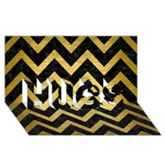 Chevron9 Black Marble & Gold Brushed Metal Hugs 3d Greeting Card (8x4)