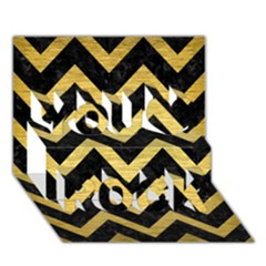 Chevron9 Black Marble & Gold Brushed Metal You Rock 3d Greeting Card (7x5) by trendistuff