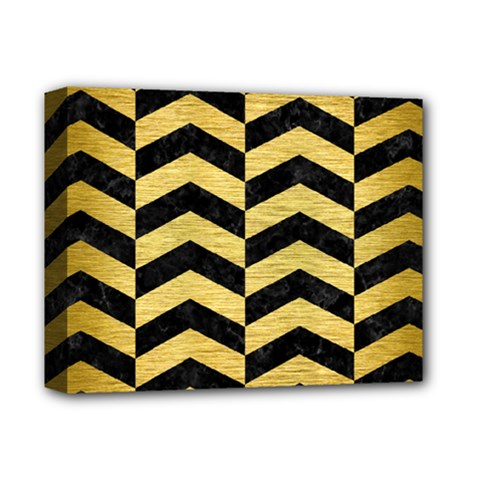 Chevron2 Black Marble & Gold Brushed Metal Deluxe Canvas 14  X 11  (stretched) by trendistuff