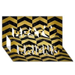 Chevron2 Black Marble & Gold Brushed Metal Best Friends 3d Greeting Card (8x4)
