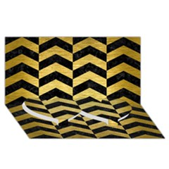 Chevron2 Black Marble & Gold Brushed Metal Twin Heart Bottom 3d Greeting Card (8x4) by trendistuff