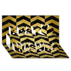 Chevron2 Black Marble & Gold Brushed Metal Best Wish 3d Greeting Card (8x4)