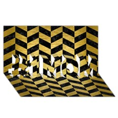 Chevron1 Black Marble & Gold Brushed Metal #1 Mom 3d Greeting Cards (8x4)