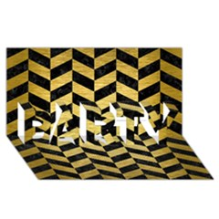 Chevron1 Black Marble & Gold Brushed Metal Party 3d Greeting Card (8x4) by trendistuff