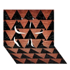 Triangle2 Black Marble & Copper Brushed Metal Clover 3d Greeting Card (7x5) by trendistuff