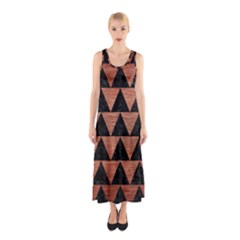 Triangle2 Black Marble & Copper Brushed Metal Sleeveless Maxi Dress
