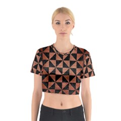 Triangle1 Black Marble & Copper Brushed Metal Cotton Crop Top