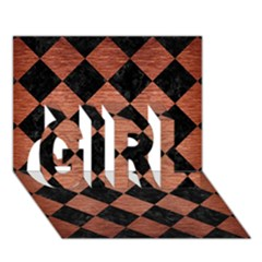 Square2 Black Marble & Copper Brushed Metal Girl 3d Greeting Card (7x5)