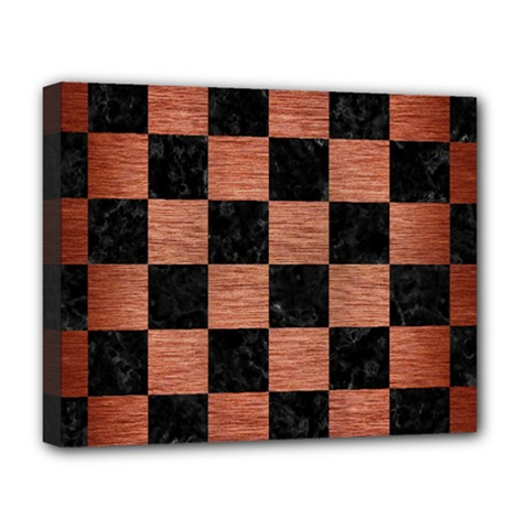 Square1 Black Marble & Copper Brushed Metal Deluxe Canvas 20  X 16  (stretched) by trendistuff